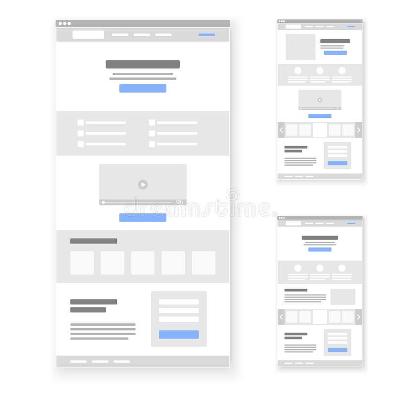 Landing page website wireframe interface template set. Vector illustration.  stock illustration