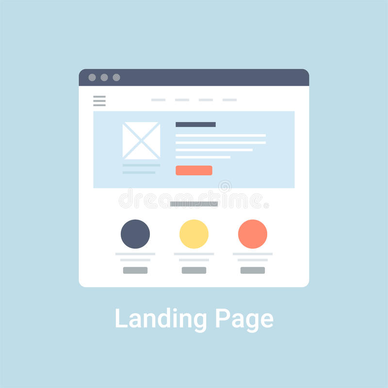 Landing Page Wireframe. Landing page website wireframe interface template. Flat vector illustration on blue background vector illustration