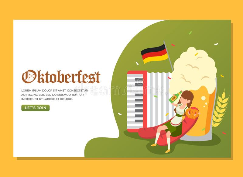 Landing page of woman drinking and holding pretzel to celebrate Oktoberfest event stock photography