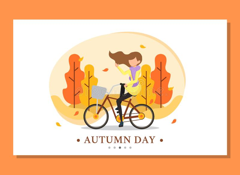Landing page of woman riding bicycle in the autumn abstract background royalty free stock images
