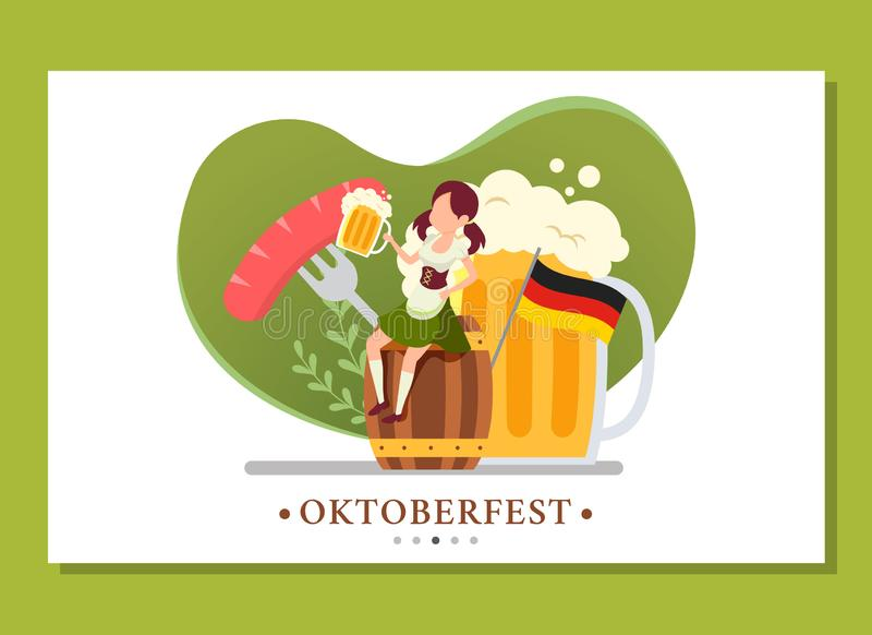 Landing page of woman sitting in the barrel while drinking in the Oktoberfest event stock image