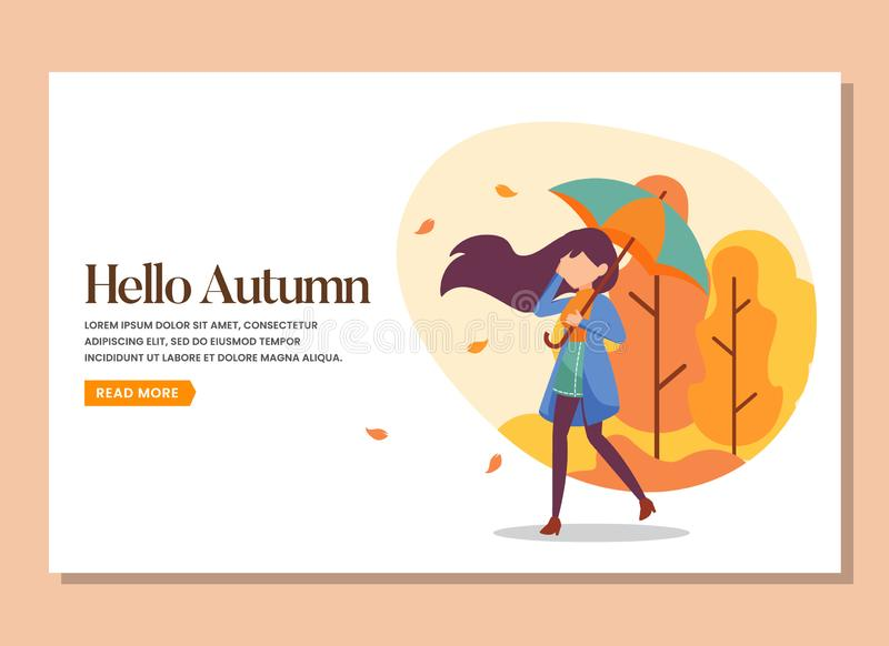Landing page of woman walking with umbrella in the warm autumn day royalty free stock photos