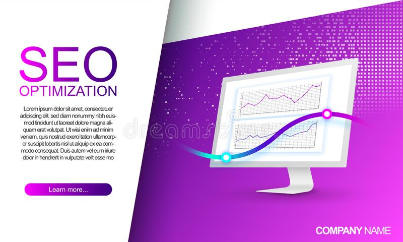 Landing pages for seo optimization. Mobile app development. Digital marketing. Website traffic monitoring. Modern web pages for vector illustration
