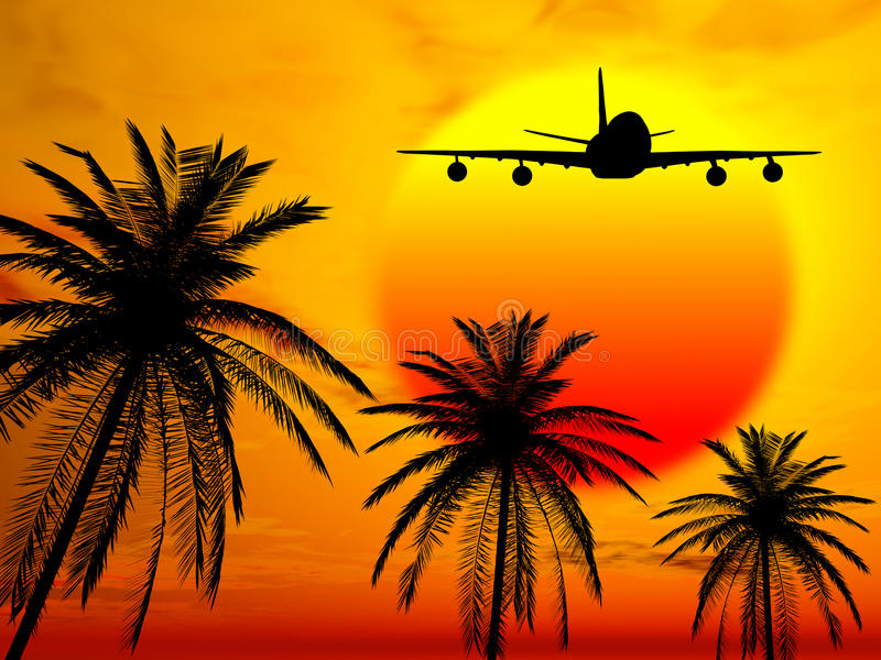 Landing in paradise. Illustration of plane landing in tropical country at sunset stock illustration