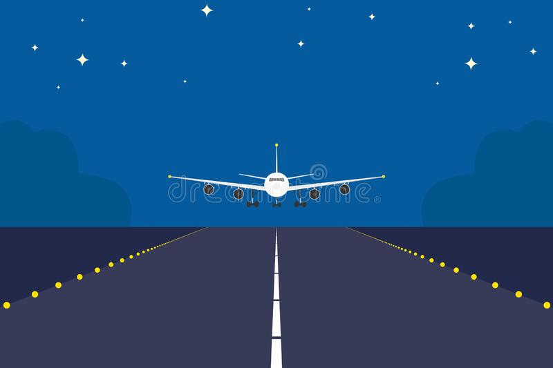 Landing plane over runway at night. Flat and solid color travel concept background. stock illustration