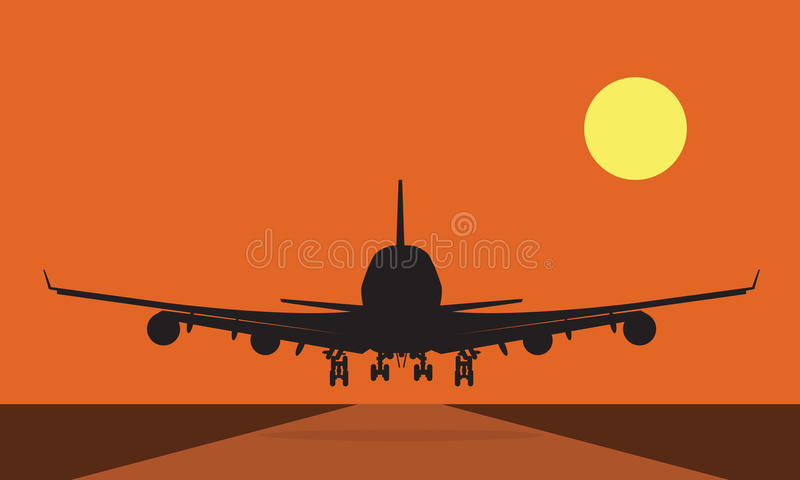 Landing plane over runway at sunset. Flat and solid color stock illustration