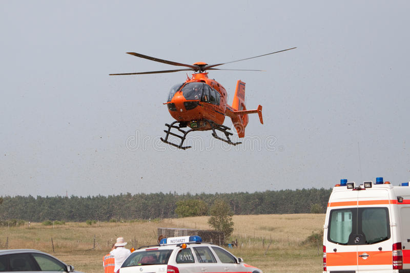 Landing Rescue Helicopter Editorial Stock Image