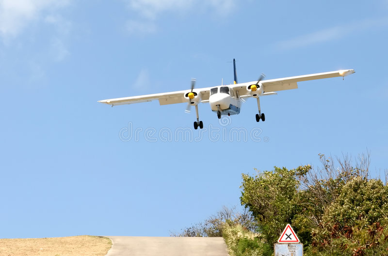 Landing at St. Barth airport, Caribbean stock photos