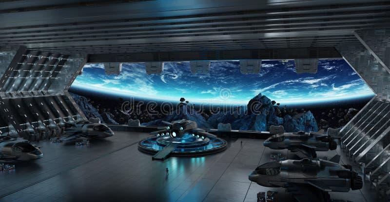 Landing strip spaceship interior 3D rendering elements of this i royalty free illustration