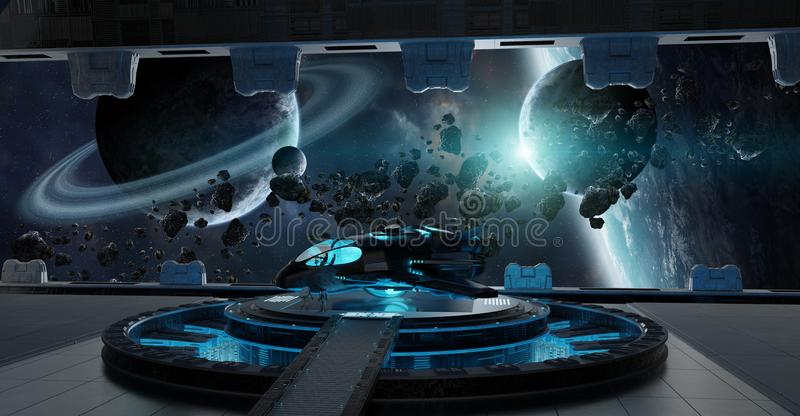 Landing strip spaceship interior 3D rendering elements of this i stock illustration