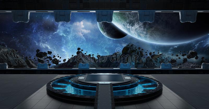 Landing strip spaceship interior 3D rendering elements of this i. Huge blueish landing strip spaceship interior 3D rendering elements of this image furnished by vector illustration
