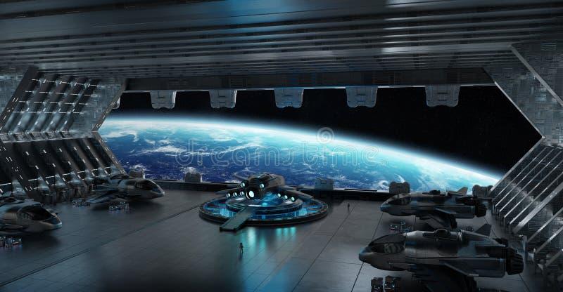 Landing strip spaceship interior 3D rendering elements of this i stock illustration