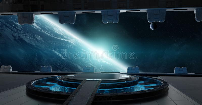 Landing strip spaceship interior 3D rendering elements of this i vector illustration
