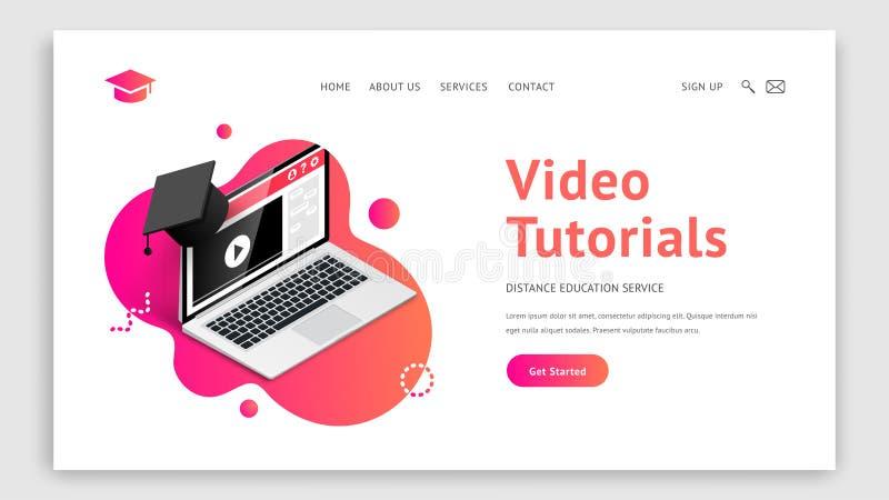 Landing video tutorials laptop graduation cap stock illustration