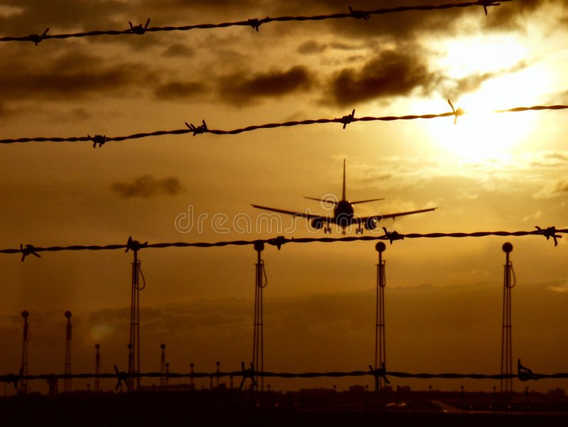 Landing into a war zone royalty free stock photography