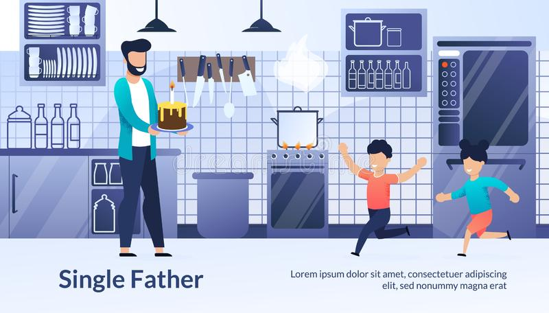 Landing Web Page, Banner, Single Father, Children stock illustration