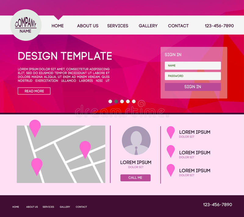 Landing web page. Vector design website theme template. Landing web page layout with blurred background stock illustration