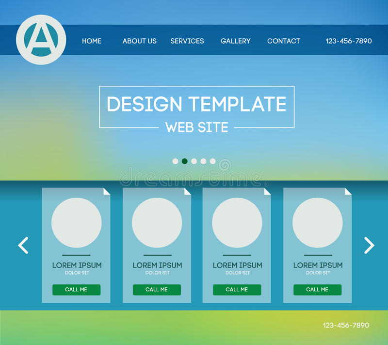Landing web page. Vector design website theme template. Landing web page layout with blurred background vector illustration