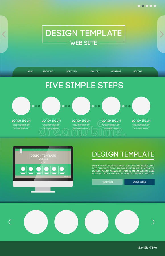 Landing web page. Vector design website theme template. Landing web page layout with blurred background royalty free illustration