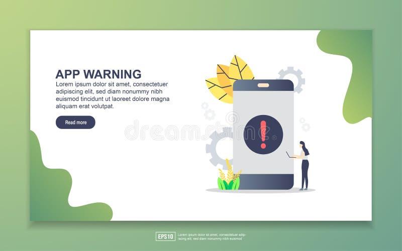 Landingspagina-sjabloon voor app-waarschuwing Moderne platte ontwerpopzet van webpagina's voor website en mobiele website Eenvoud vector illustratie
