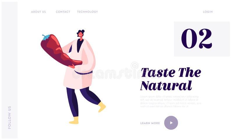 Landingspagina van de vegetarische gezonde productiesector Canarische fabrieksarbeider in White Robe Carry Fresh Red Pepper vector illustratie