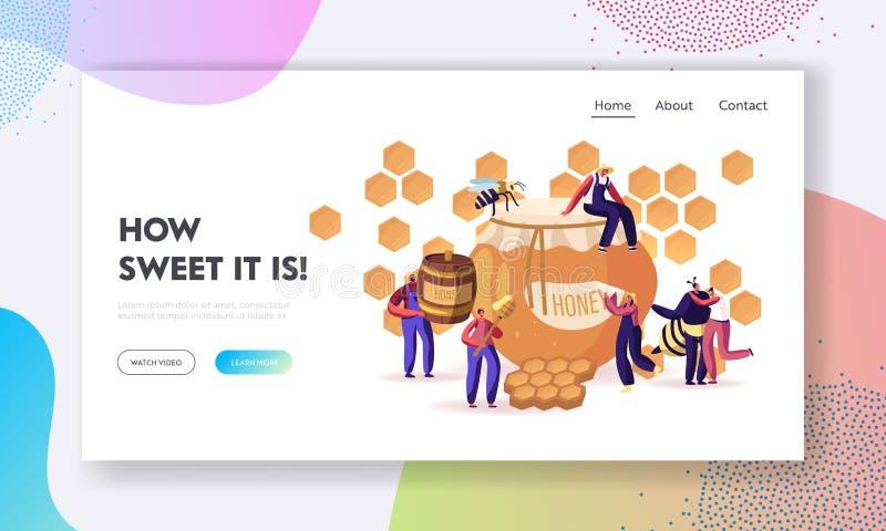 Landingspagina van de website van de website 'Honing extraheren en eten' Bijenteler die Honeycomb neemt en naar Jar brengt vector illustratie
