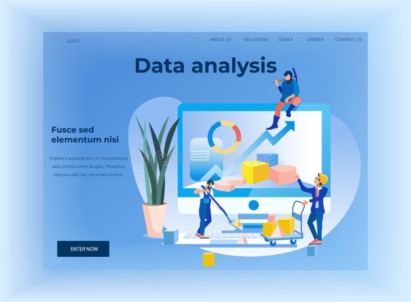 Landingspagina voor de Analyse van Statistiekgegevens Apps royalty-vrije illustratie