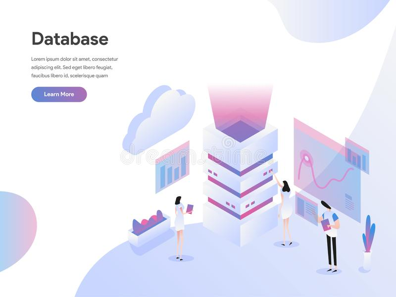 Landingspaginamalplaatje van Concept van de Databaseserver het Isometrische Illustratie Isometrisch vlak ontwerpconcept webpagina royalty-vrije illustratie