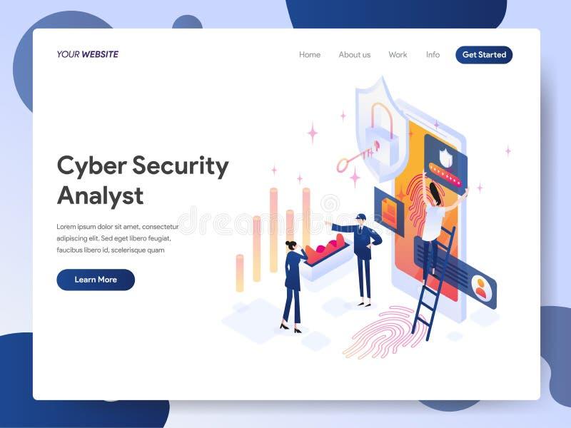 Landingspaginamalplaatje van Cyber-Veiligheidsanalist Isometric Illustration Concept Modern ontwerpconcept webpaginaontwerp voor vector illustratie