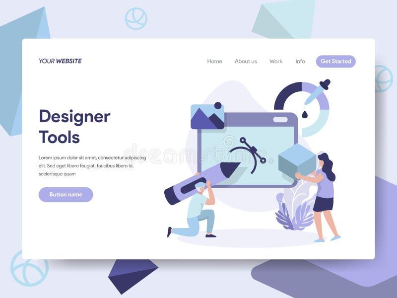 Landingspaginamalplaatje van 3D Ontwerper Tools Illustration Concept Isometrisch vlak ontwerpconcept webpaginaontwerp voor websit vector illustratie