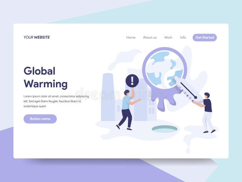 Landingspaginamalplaatje van Globaal het Verwarmen Illustratieconcept Isometrisch vlak ontwerpconcept webpaginaontwerp voor websi royalty-vrije illustratie