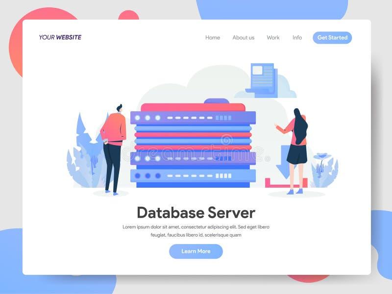Landingspaginamalplaatje van het Concept van de Databaseserverillustratie Modern ontwerpconcept webpaginaontwerp voor website en  stock illustratie