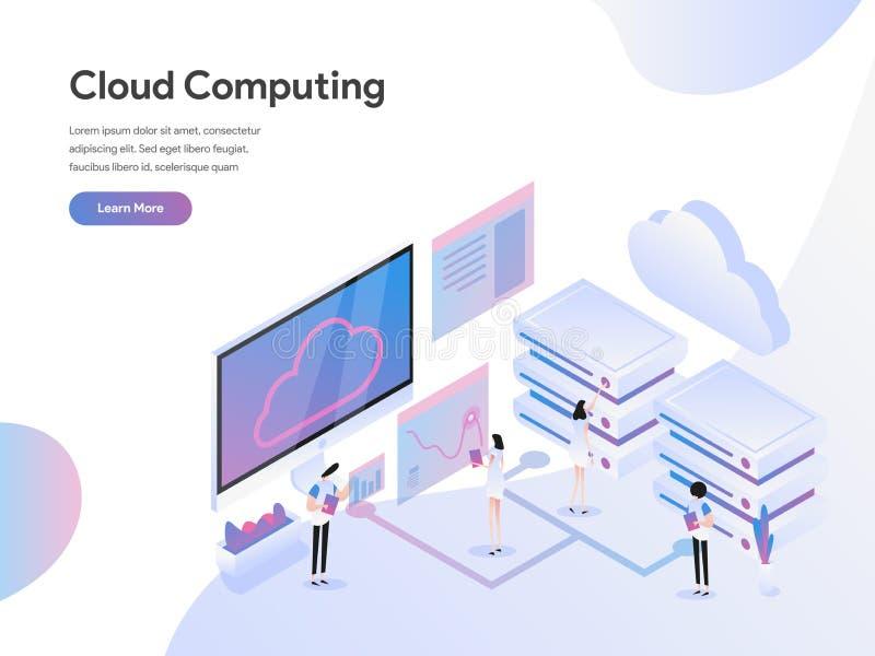Landingspaginamalplaatje van Isometrisch de Illustratieconcept van Cloud Computing Modern vlak ontwerpconcept Web-pagina ontwerp  royalty-vrije illustratie