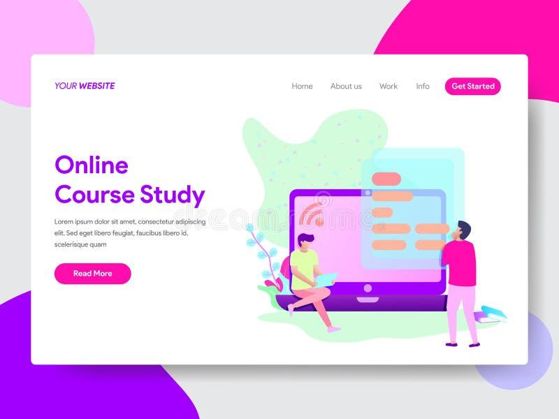 Landingspaginamalplaatje van Online Cursusstudent Illustration Concept Modern vlak ontwerpconcept Web-pagina ontwerp stock illustratie