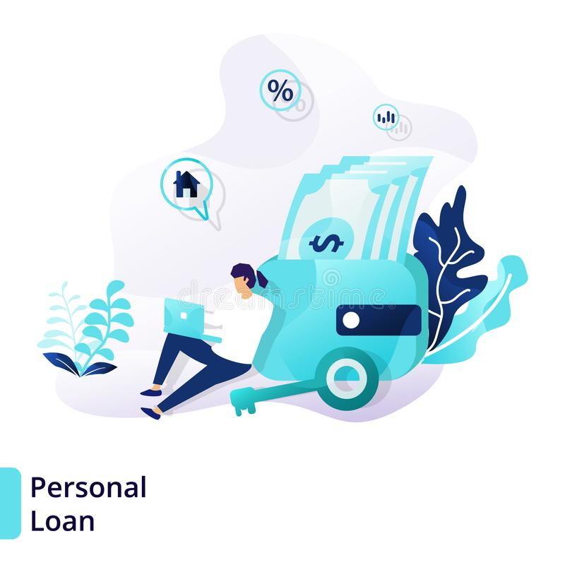 Landingspaginamalplaatje van Persoonlijke Lening Modern vlak ontwerpconcept Krediet en Lening kan voor Web worden gebruikt, ui, b royalty-vrije illustratie