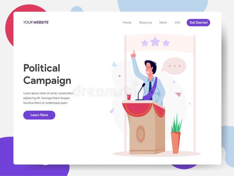 Landingspaginamalplaatje van Politicus Campaign op het Concept van de Podiumillustratie Modern ontwerpconcept webpaginaontwerp vo royalty-vrije illustratie