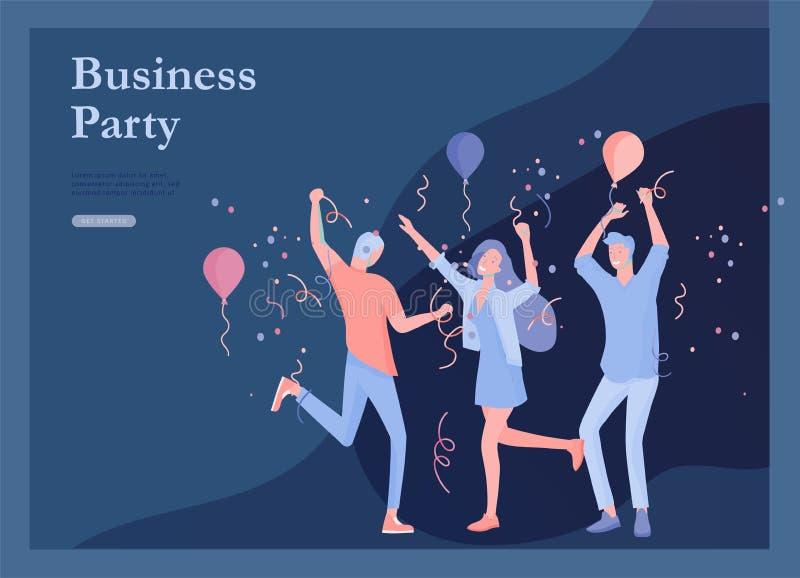 Landingspaginamalplaatjes die met zich teammensen het bewegen worden geplaatst Bedrijfsuitnodiging en collectieve partij, ontwerp stock illustratie