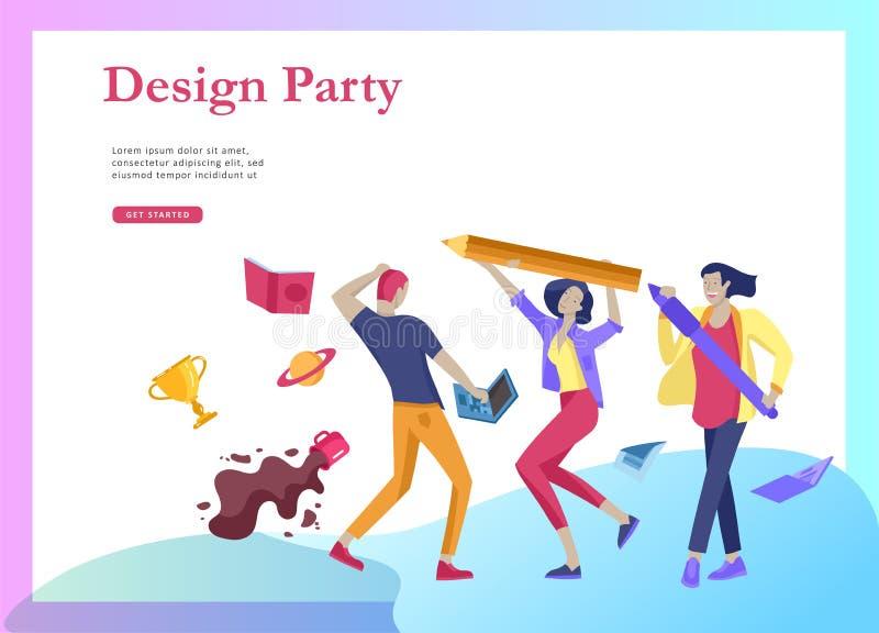 Landingspaginamalplaatjes die met zich teammensen het bewegen worden geplaatst Bedrijfsuitnodiging en collectieve partij, ontwerp royalty-vrije illustratie