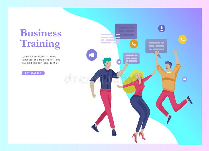 Landingspaginamalplaatjes die met zich teammensen het bewegen worden geplaatst Bedrijfsuitnodiging en collectieve partij, ontwerp vector illustratie