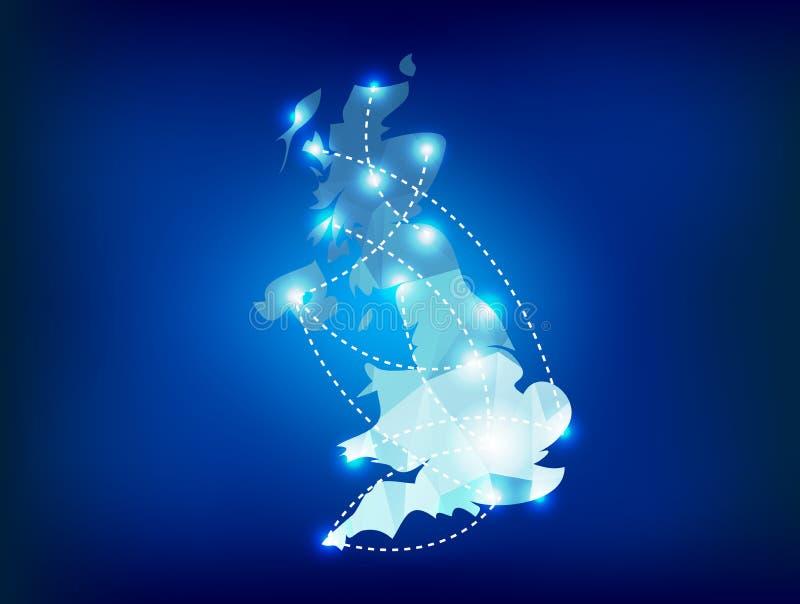 Landkarte Vereinigten Königreichs polygonal mit Stelle lig lizenzfreie abbildung