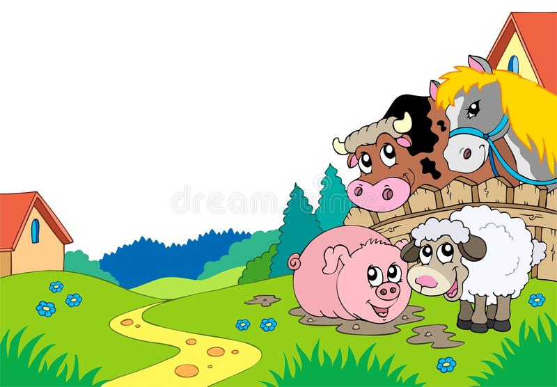 Landlandschaft mit Vieh lizenzfreie abbildung