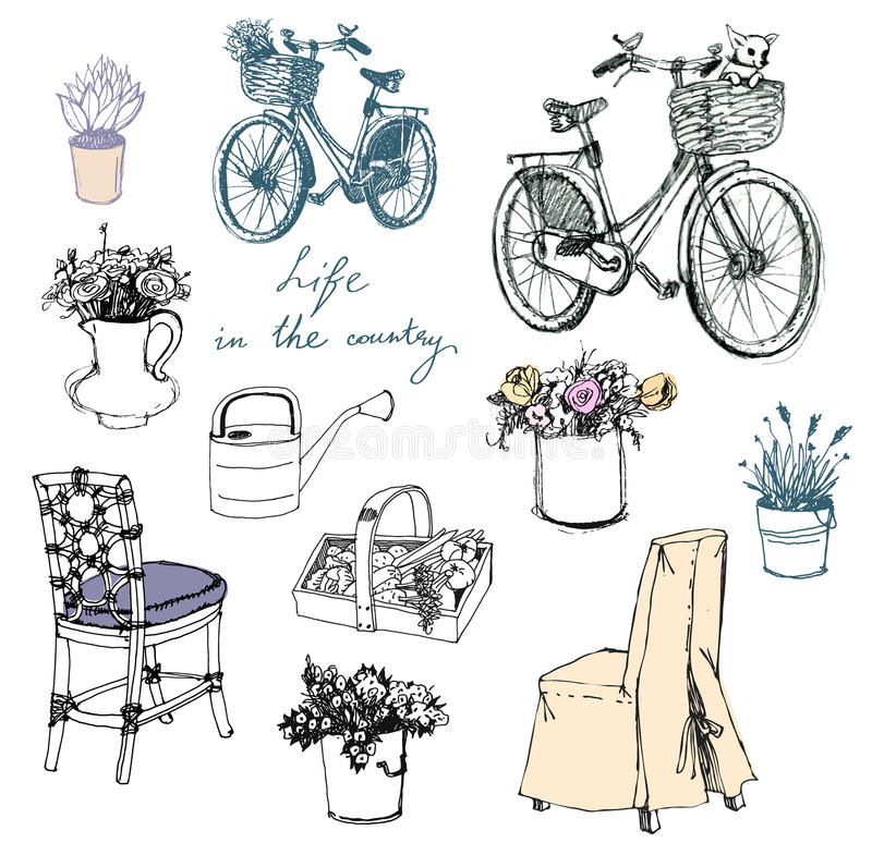 Landleben. Blumen. Möbel. Innenelement vektor abbildung