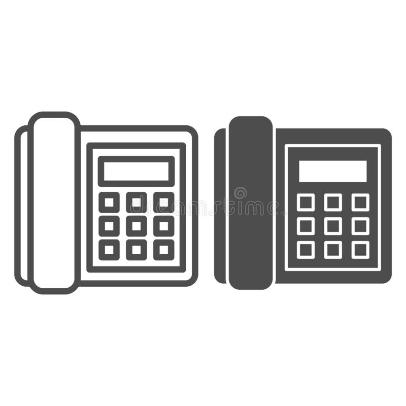 Landline phone line and glyph icon. Call vector illustration isolated on white. Telephone outline style design, designed. For web and app. Eps 10 stock illustration