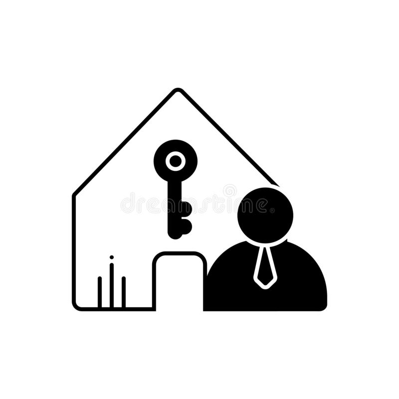 Black solid icon for Landlord, insurance and accommodation. Black solid icon for Landlord, property, policy, modern,  insurance and  accommodation royalty free illustration