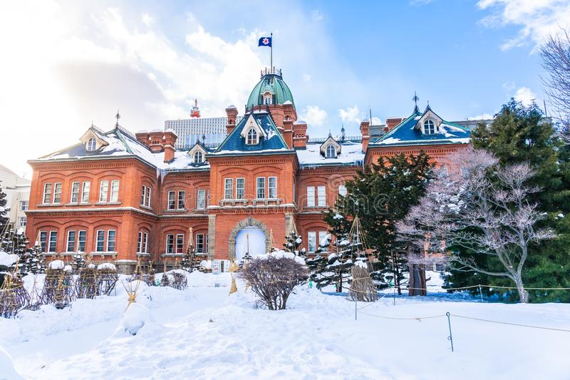 Landmakr anterior del pasillo del edificio del gobierno de la arquitectura hermosa de la ciudad Hokkaido de Sapporo imagenes de archivo