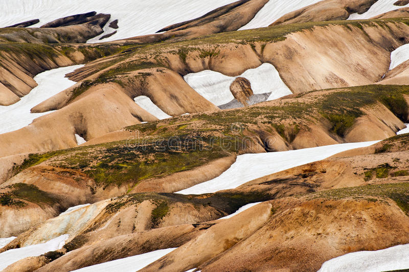 Landmannalaugar. Beautiful multicolored mountains and snow avalanches at Landmannalaugar, Iceland stock images
