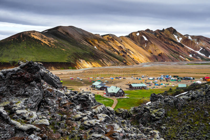 Landmannalaugar Campsite. Landmannalaugar Camp among colorful mountains and fields of lava, Iceland stock photo