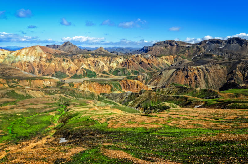 Landmannalaugar färgrik bergliggande arkivfoto
