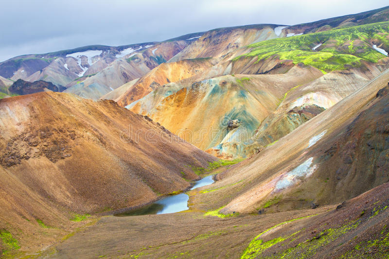 Landmannalaugar, Iceland. Landmannalaugar is a place in the Fjallabak Nature Reserve in the highland of Iceland. It is at the edge of Laugahraun lava field that stock photography