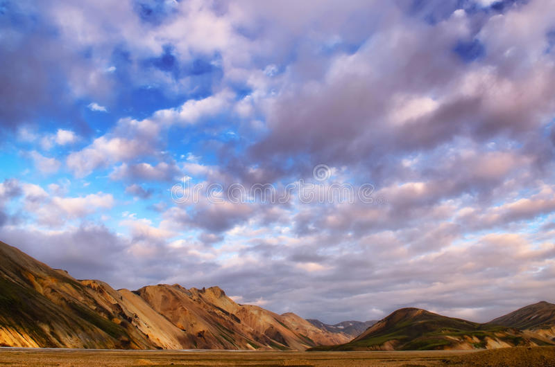 Landmannalaugar landscape färgrika berg sikt royaltyfria foton